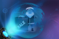 3d santa claus with sale concept Royalty Free Stock Photos