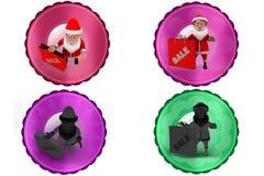 3d santa claus sale icon Stock Photos