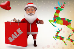 3d santa claus sale illustration Royalty Free Stock Photo