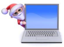 3d Santa Claus schaut ringsum einen Laptop-PC Lizenzfreies Stockbild