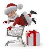 3d Santa Claus shoppar in Royaltyfri Foto