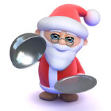 3d Santa claus with a silver tray. 3d render of Santa holding a silver service tray Royalty Free Stock Photography