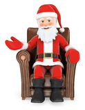 3D Santa Claus sitting on a leather sofa Royalty Free Stock Images