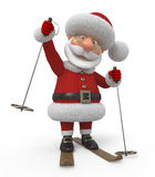 3d Santa Claus on skis Stock Images