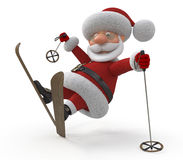 3d Santa Claus on skis Royalty Free Stock Photo