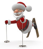 3d Santa Claus on skis Royalty Free Stock Photos
