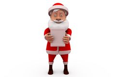 3d santa claus with small board concept Stock Photography