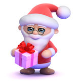3d Santa Claus with a small gift Royalty Free Stock Photos
