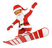 3D Santa Claus snowboarding jumping Stock Photography