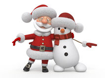 3d Santa Claus with a snowman Royalty Free Stock Images
