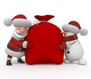 3d Santa Claus with a snowman Stock Images