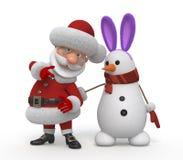 3d Santa Claus with a snowman Stock Photos