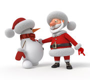 3d Santa Claus with a snowman Stock Photography