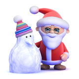 3d Santa Claus and snowman Stock Image