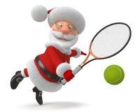 3d Santa Claus speelt tennis Royalty-vrije Stock Afbeelding