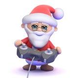 3d Santa Claus spelar en videogame Royaltyfria Bilder