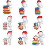 3d santa claus stand near books. 3d white man in santa claus cap stand near pile of books set. 3D render illustration collection isolated on white Stock Images