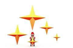 3d santa claus stars concept Stock Photo