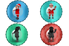 3d santa claus with stick icon Royalty Free Stock Images