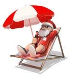 3D Santa Claus sunbathing on the beach Stock Photos