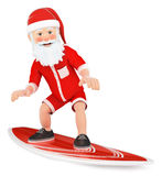 3D Santa Claus surfing on a board Stock Photography