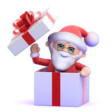 3d Santa Claus surprise! Royalty Free Stock Image