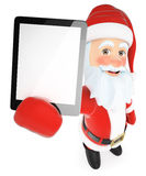 3D Santa Claus with a tablet blank screen Royalty Free Stock Photography