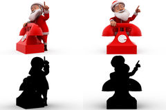 3d santa claus telephone concept  collections with alpha and shadow channel Royalty Free Stock Image