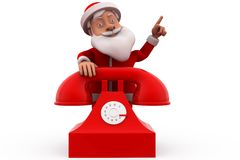3d santa claus telephone concept Royalty Free Stock Photography