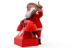 3d santa claus telephone concept Royalty Free Stock Images