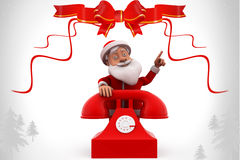 3d santa claus telephone illustration Stock Photography