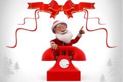 3d santa claus telephone illustration Stock Photography