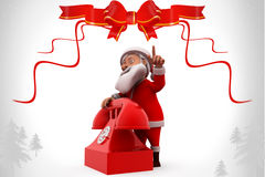 3d santa claus telephone illustration Royalty Free Stock Photos
