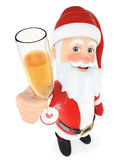 3D Santa Claus toasting with a glass of champagne Royalty Free Stock Photography