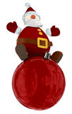 3D Santa Claus on top of a red globe Royalty Free Stock Image