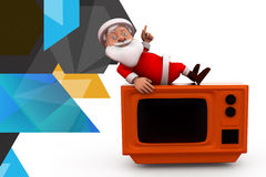 3d santa claus on tv illustration Royalty Free Stock Photo