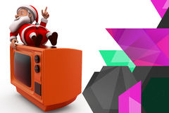3d santa claus on tv illustration Stock Photography