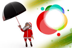 3d santa claus umbrella illustration Royalty Free Stock Image