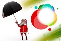 3d santa claus umbrella illustration Royalty Free Stock Image