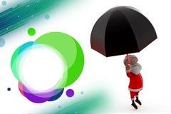 3d santa claus umbrella illustration Stock Images