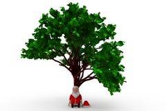 3d Santa Claus under trädbegrepp Arkivfoton