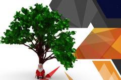 3d santa claus under tree illustration Stock Photos