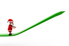 3d Santa Claus w górę strzałkowatego pojęcia Obrazy Royalty Free