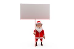 3d santa claus white board concept Royalty Free Stock Photo