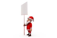3d santa claus white board concept Royalty Free Stock Photos