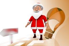 3d santa dance  illustration Stock Photo