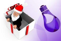3d Santa dans l'illustration de cadeau Photographie stock libre de droits