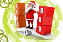 3d Santa dobra zła ilustracja Fotografia Stock