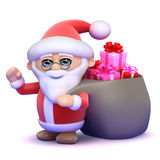 3d Santa drags a sack full of Christmas presents Royalty Free Stock Photo