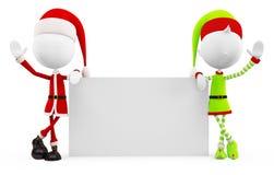 3d Santa & duendes com placa branca Fotos de Stock